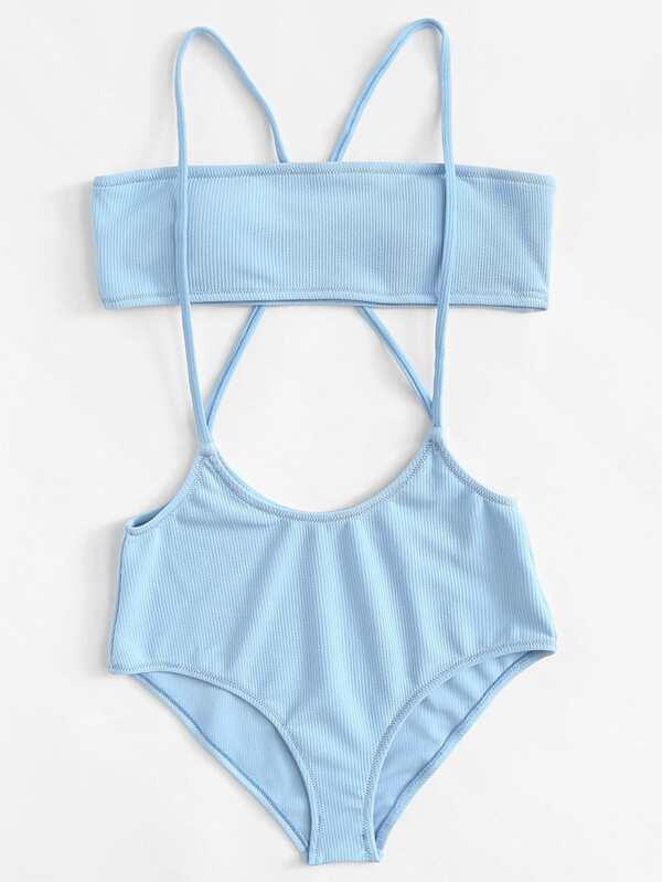Criss Cross Two Piece Swimwear by Sheinside