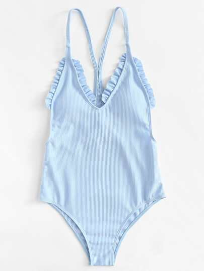 Frill Ribbed Swimsuit