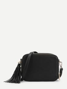 Tassel Detail Zip Around Crossbody Bag