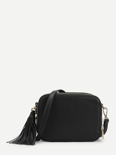 Tassel Detail Zip Around Crossbody Bag