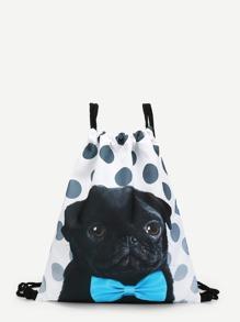 Gog Print Polka Dot Drawstring Bag
