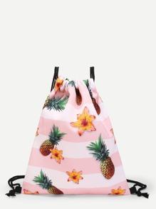 Pineapple Print Drawstring Bag