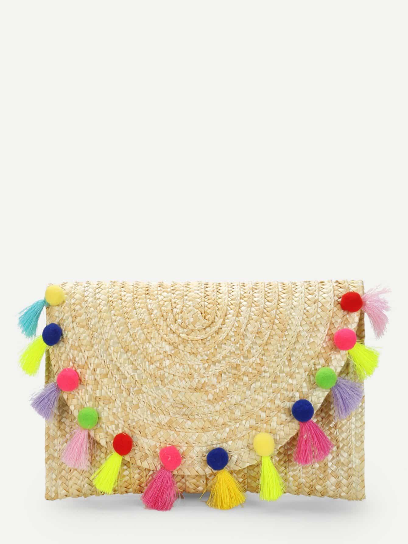 Straw Flap Purse With Pom Pom straw clutch bag with pom pom