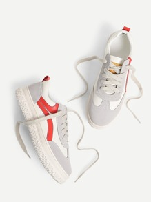 Lace Up Splice Platform Sneakers