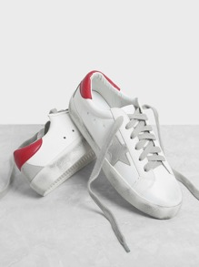 Star Design Lace Up Splice Sneakers