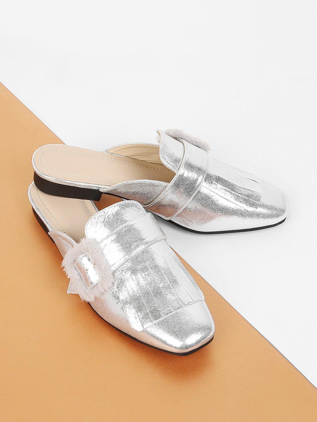 Купить Обувь на низком каблуке с жемчужинами, null, SheIn