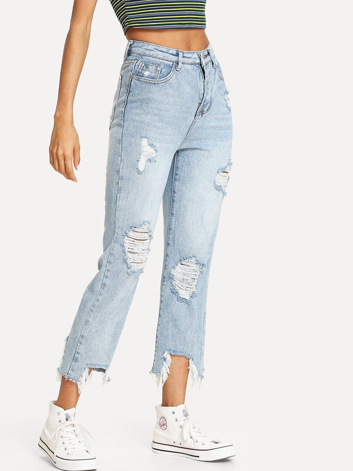 Bleach Wash Frayed Hem Ripped Jeans destroy wash frayed harem jeans