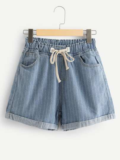 Shorts in denim con coulisse in vita con coulisse