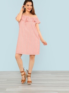 Plus Striped Off Shoulder Tunic Dress