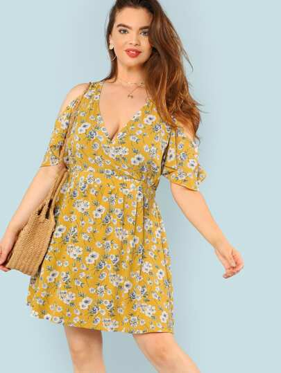Floral Print Cold Shoulder Surplice Dress