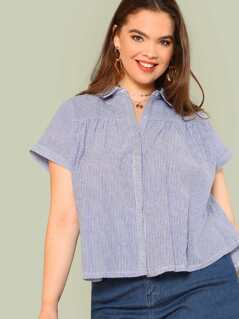 Plus Striped Button Up Dip Hem Shirt