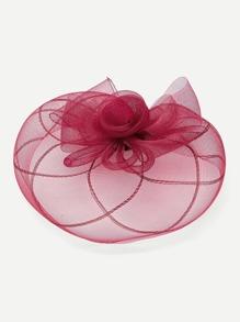 Flower Design Hair Fascinator With Veil