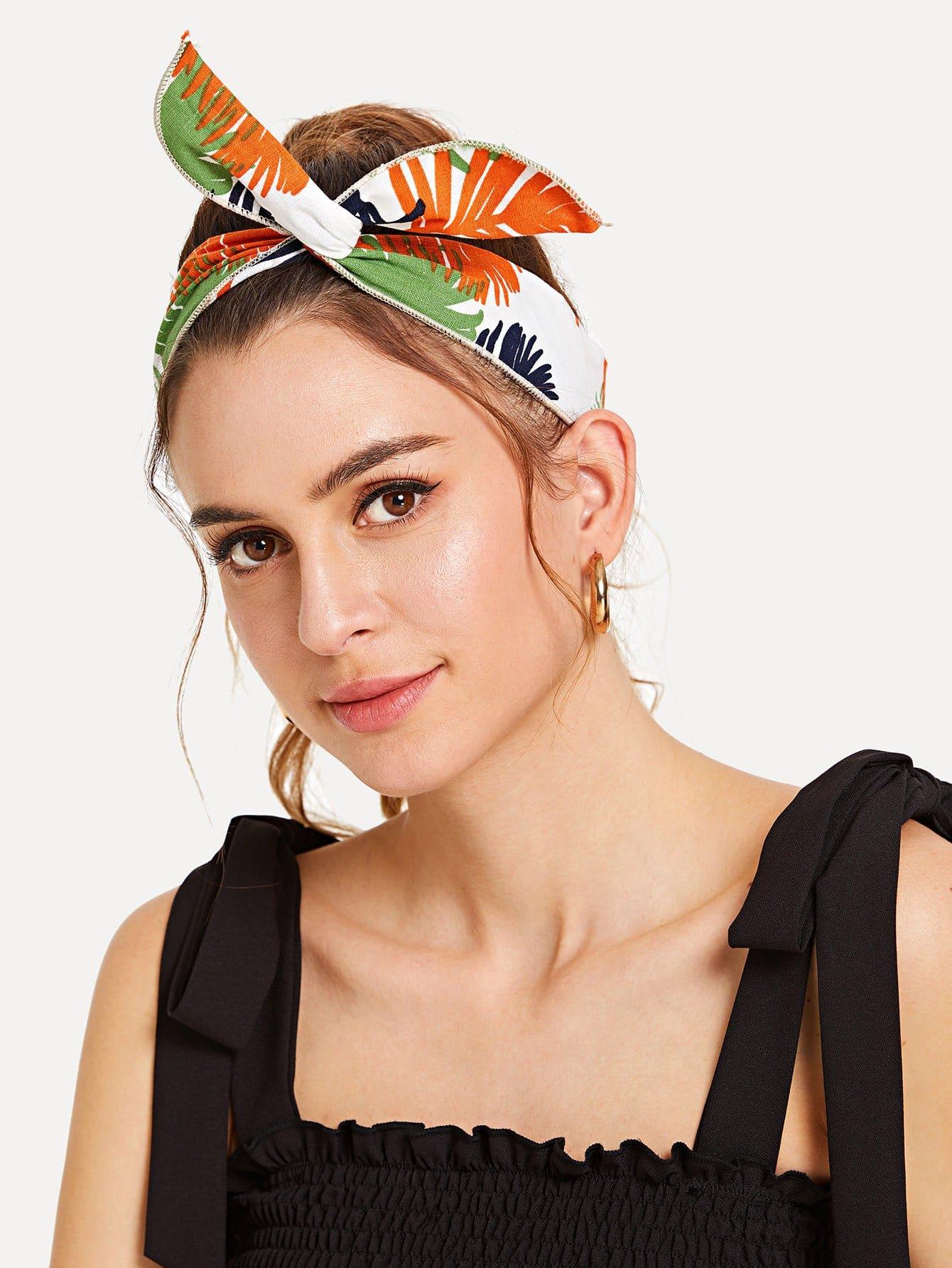 Leaf Print Headband leaf print turban headband