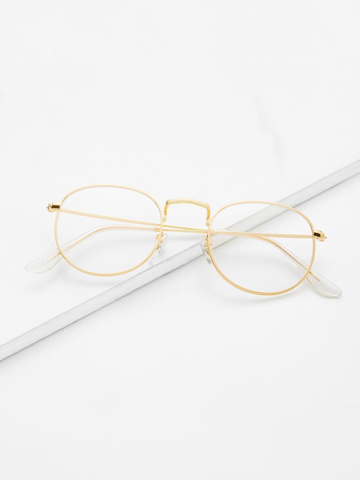 金色 框 透明鏡片 眼鏡