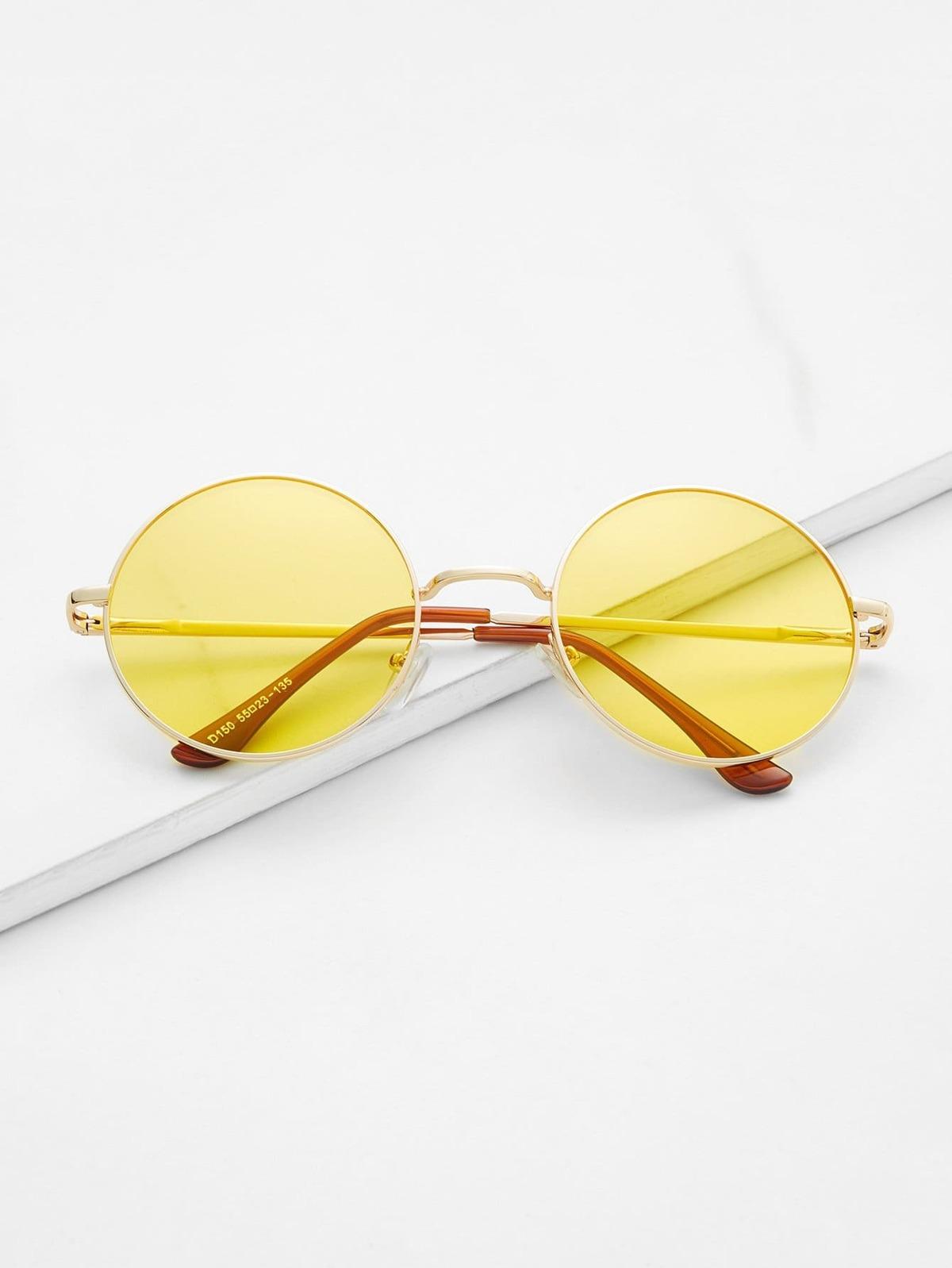 金屬 框 黃色  圓形的 鏡片 復古樣式 風格 太陽眼鏡