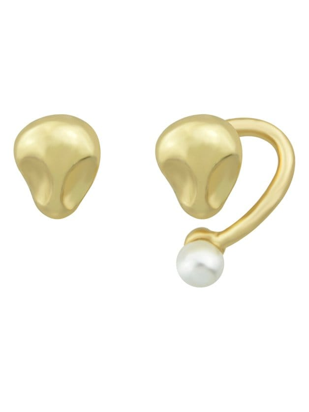 Gold Pearl asymmetrische Ohrringe