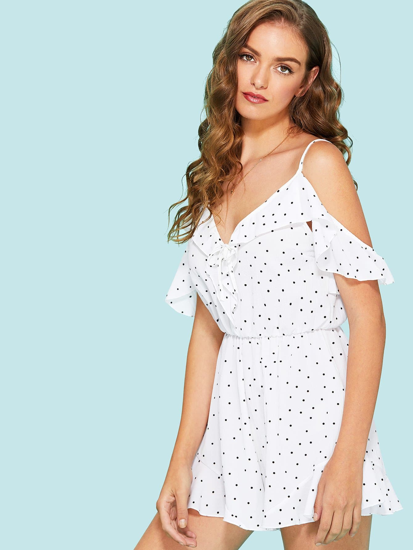 Hollow Back Knot Detail Polka Dot Cami Dress knot back polka dot wrap top