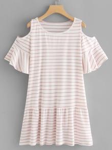 Open Shoulder Ruffle Hem Striped Dress