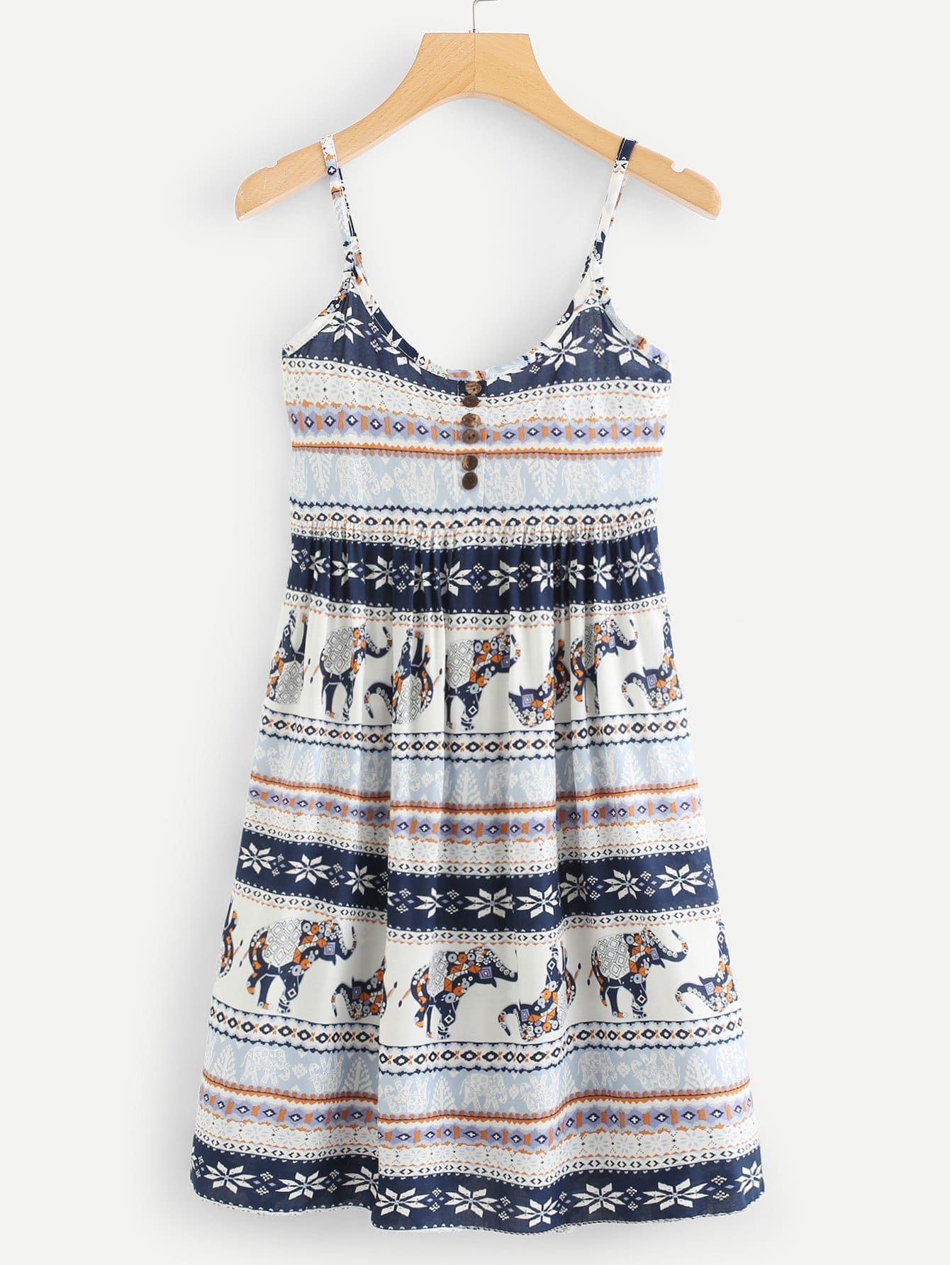 Geo Print Button Front Cami Dress geo print cami with pants