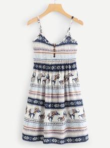 Geo Print Button Front Cami Dress SHEIN