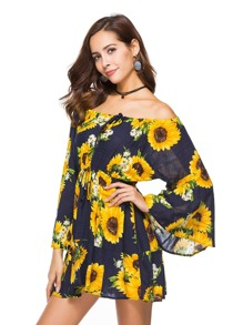 Bardot Flounce Sleeve Drawstring Florals Dress