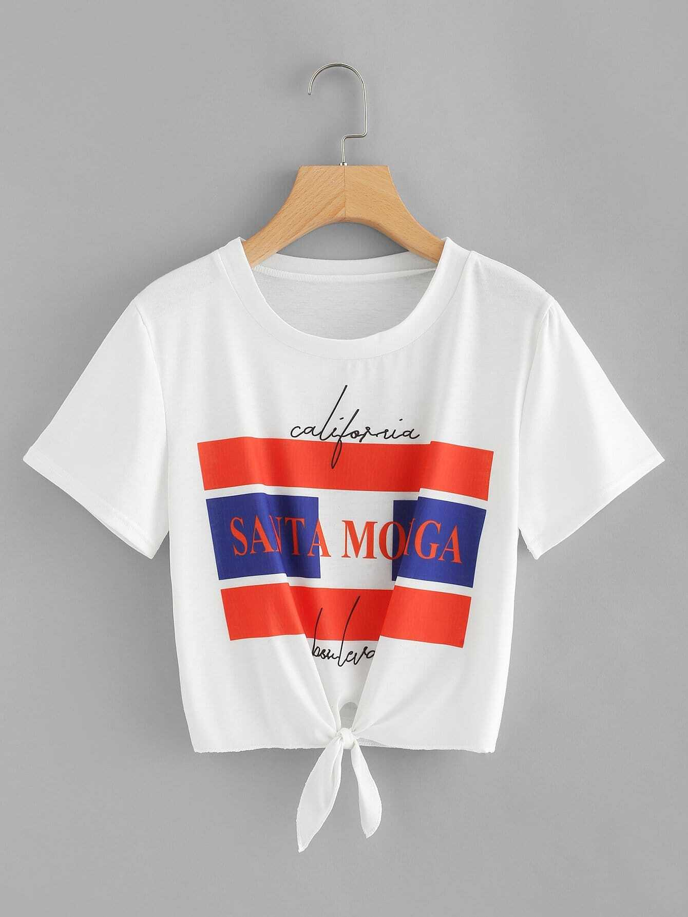 Letter Print Knot Front Crop Tee knot front letter tee