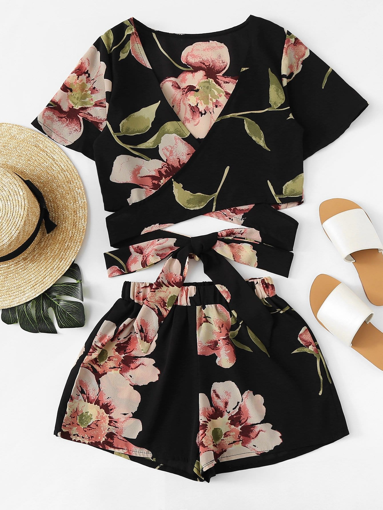 Allover Florals Crisscross Tie Detail Top With Shorts allover florals bow tie detail frill top with shorts