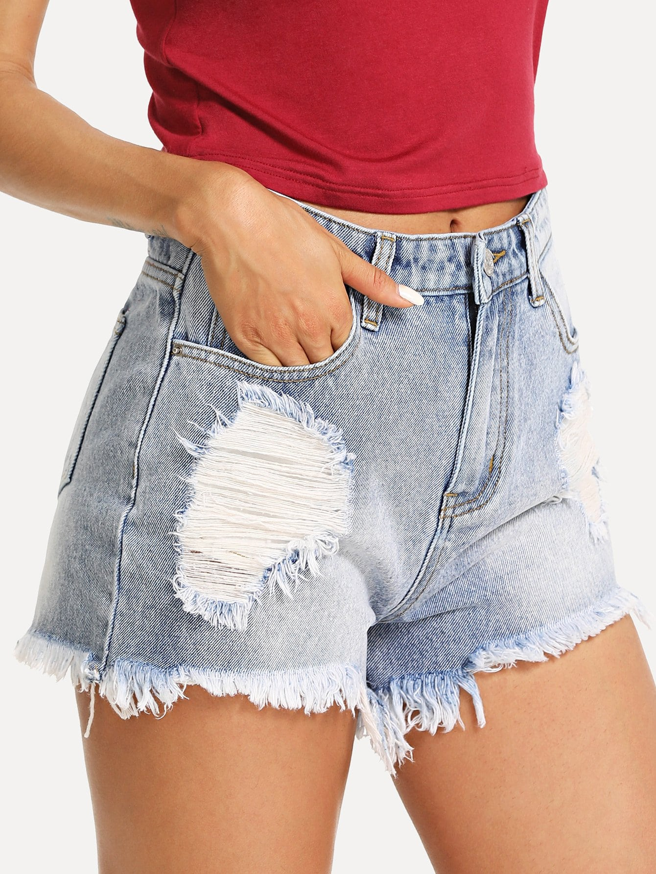 Raw Hem Ripped Denim Shorts chic pocket design ripped hem denim shorts for women
