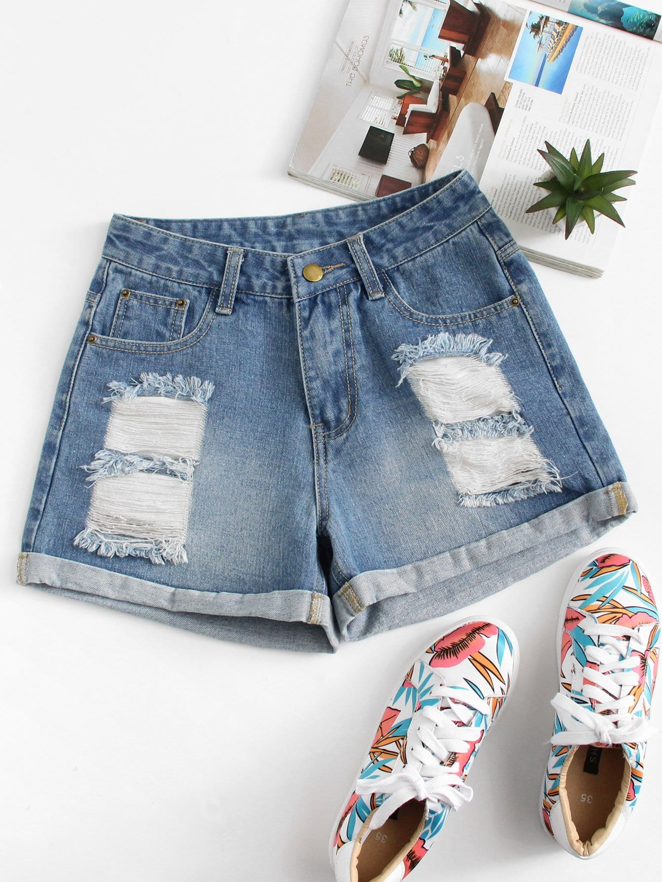 Roll Up Hem Ripped Denim Shorts цена 2017