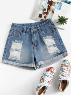 Roll Up Hem Ripped Denim Shorts