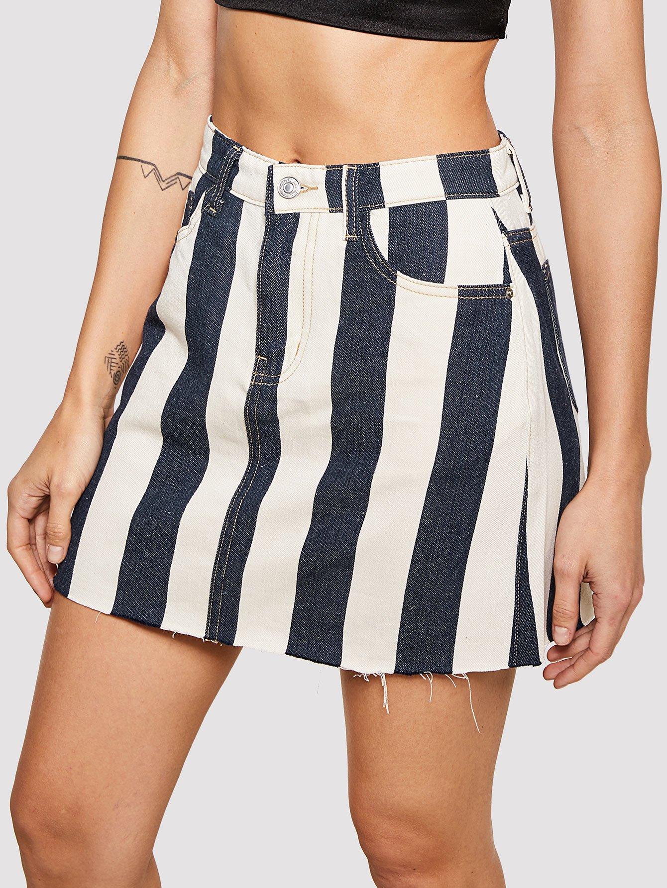 Raw Hem Striped Denim Skirt uneven hem striped midi skirt