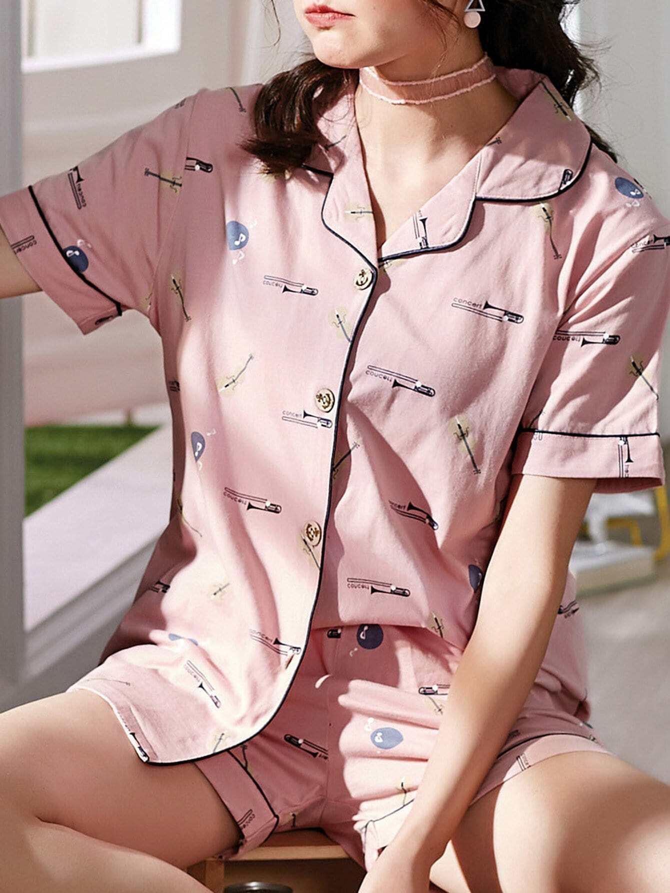 Купить Комплект пижамы рубашка с принтом мультики и шорты, null, SheIn