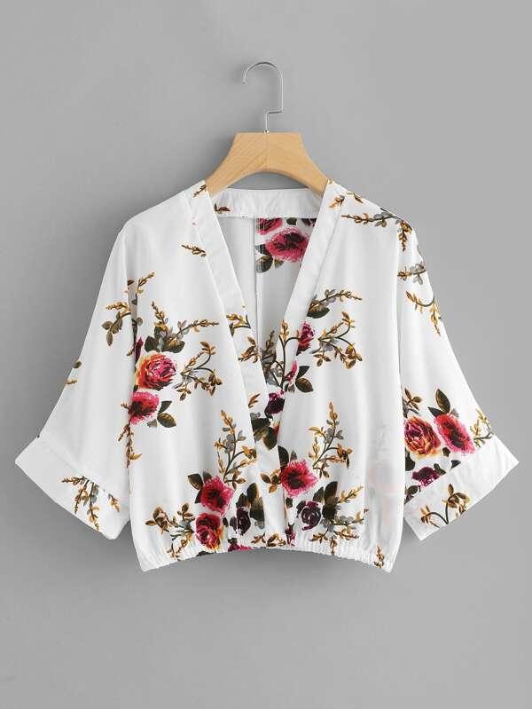 Floral Print Kimono Sleeve Blouse by Sheinside