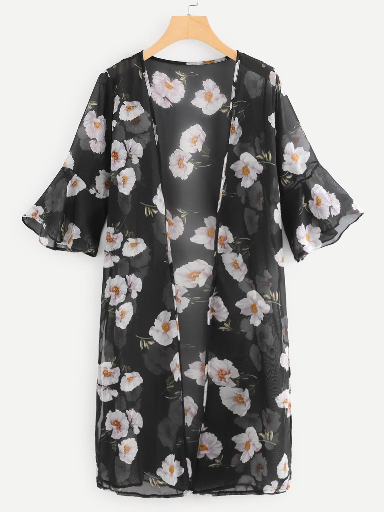Fluted Sleeve Open Front Kimono double v neck fluted sleeve jumper