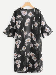 Fluted Sleeve Open Front Kimono