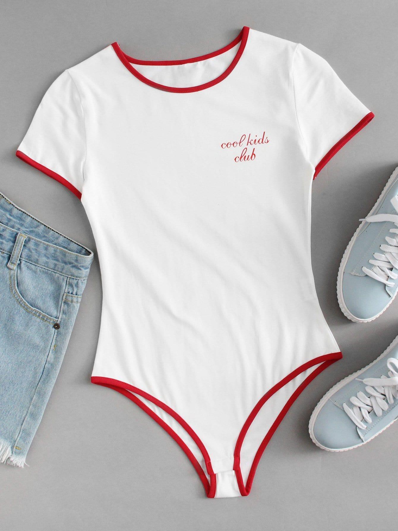 Slogan Print Ringer Bodysuit