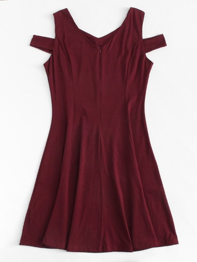 Romwe / Cut Out Shoulder Zip Up Back Dress