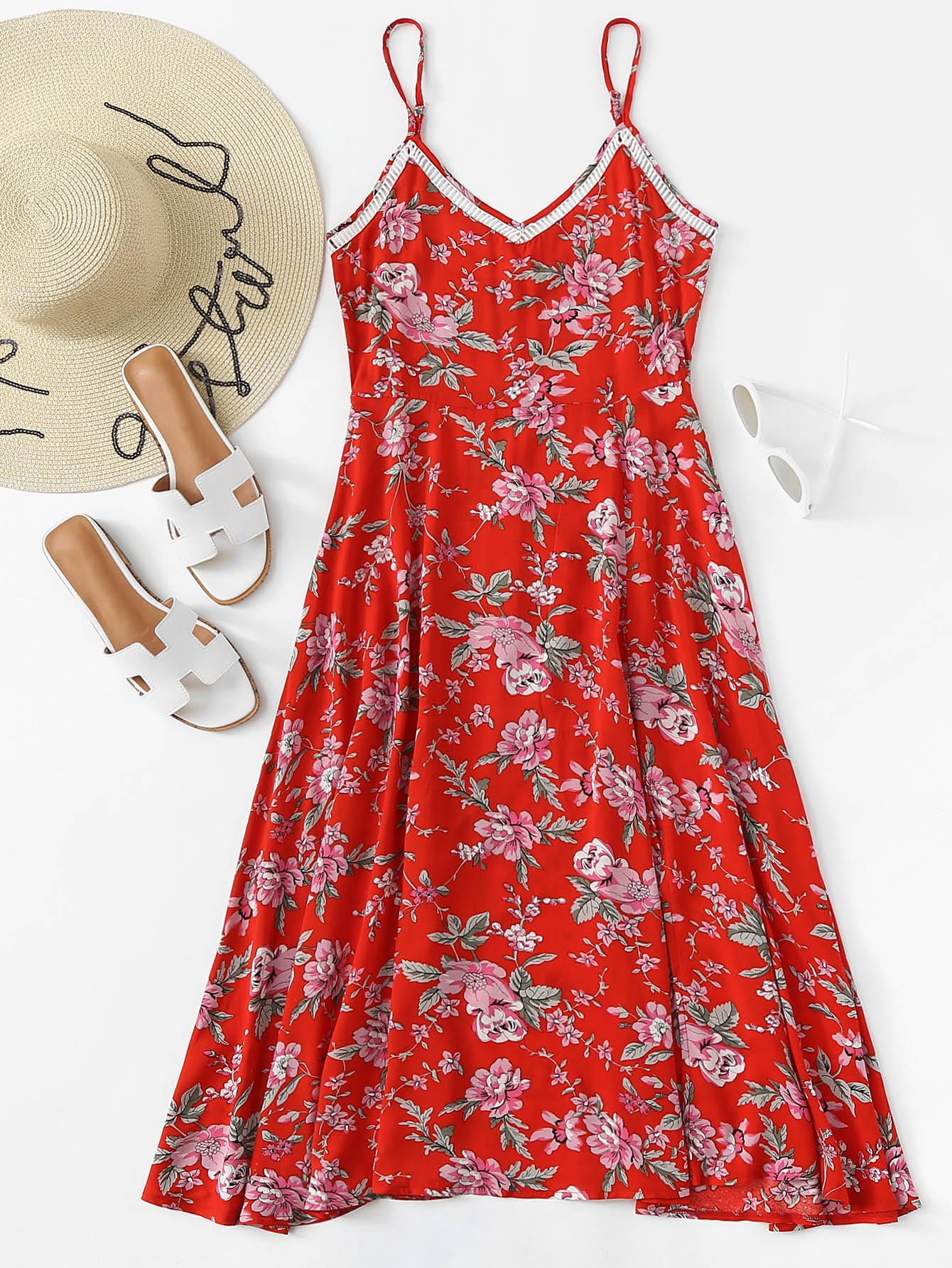 Floral Print Hollow Trim Cami Dress
