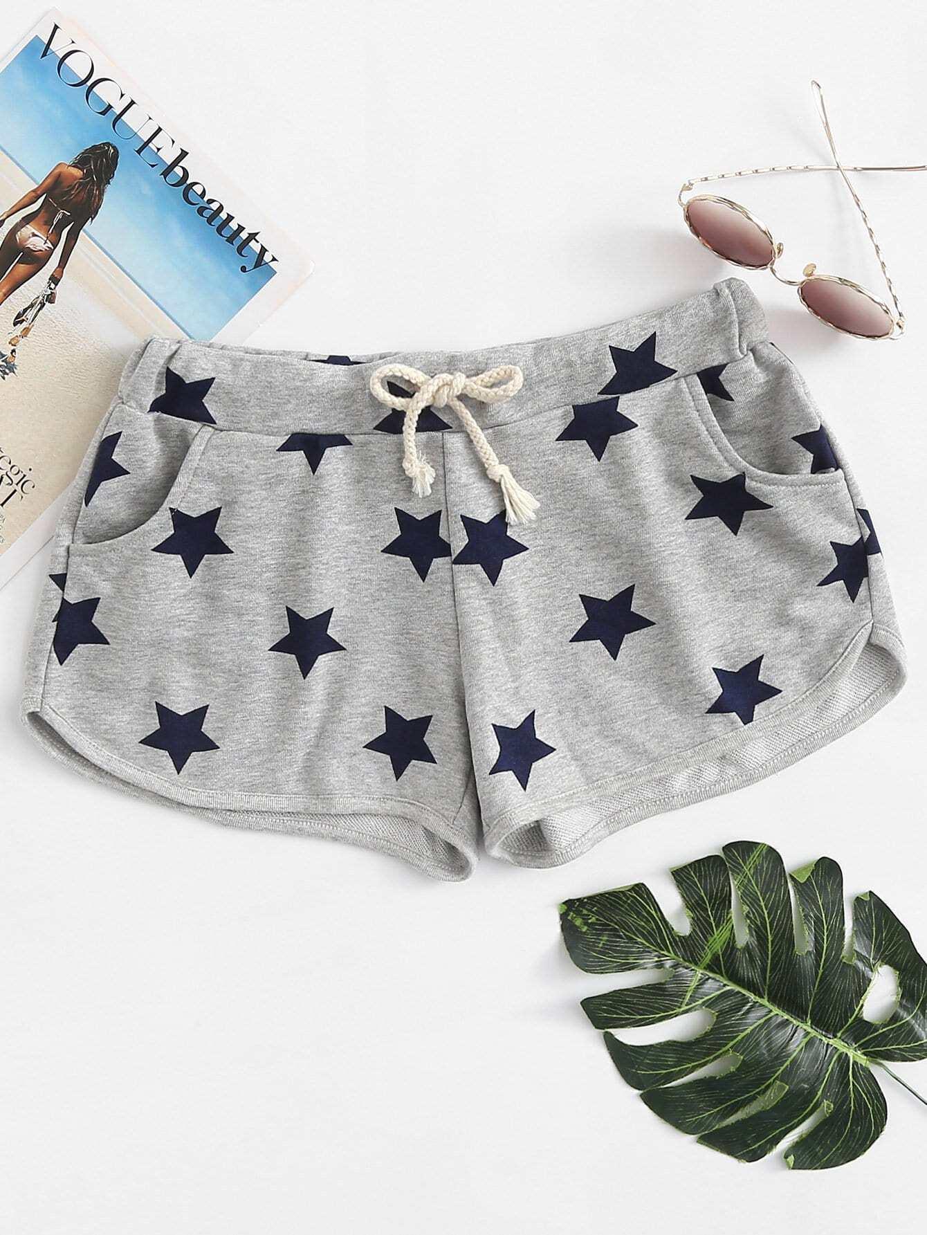 Drawstring Waist Star Print Shorts