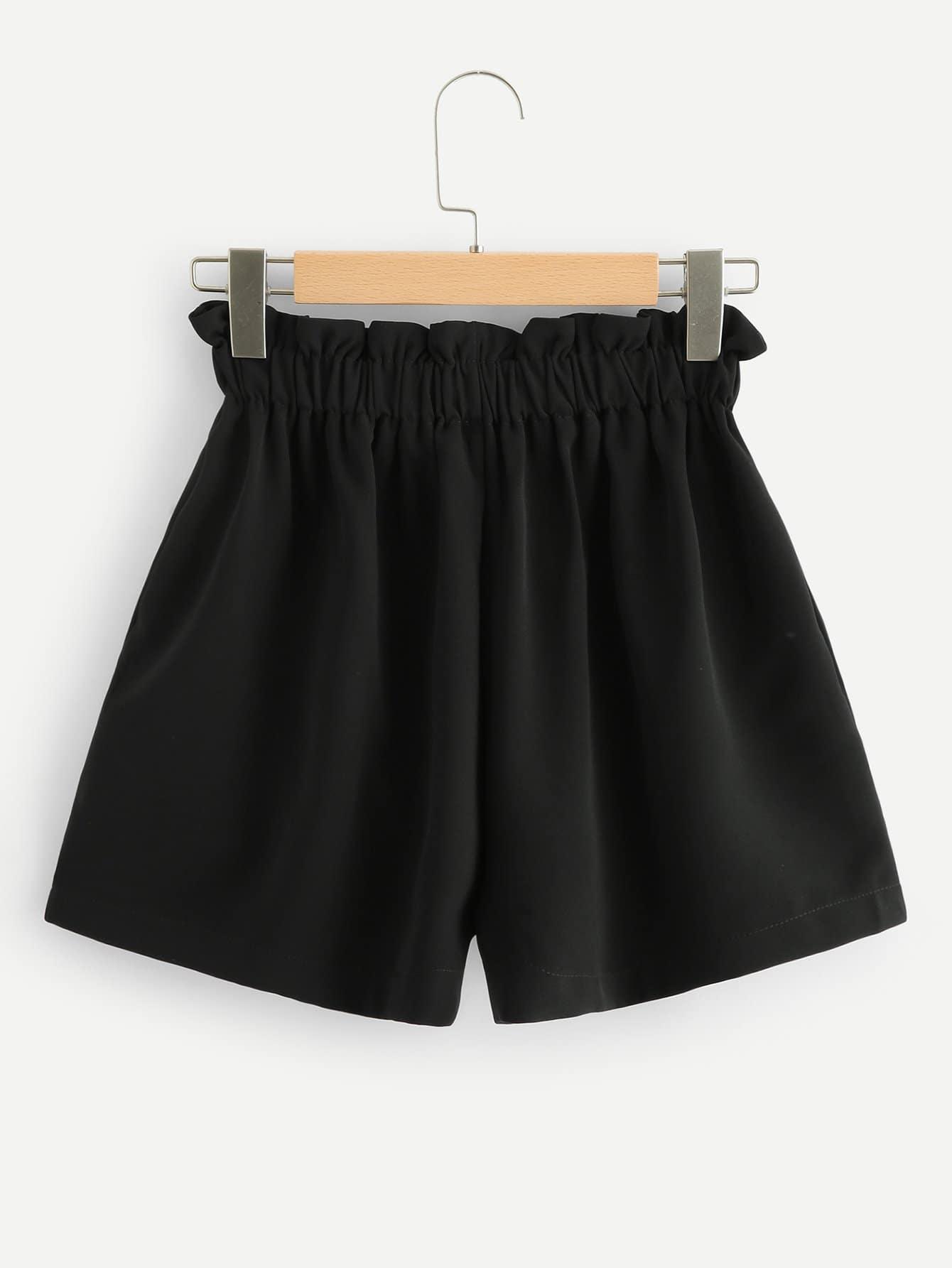 Frill Trim Elastic Waist Shorts