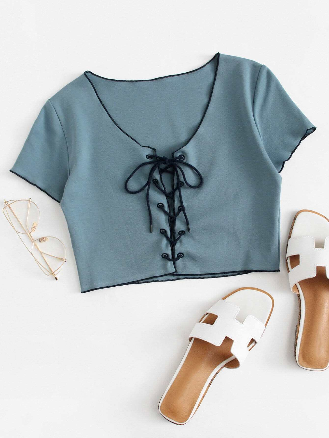 Lace Up Crop Tee