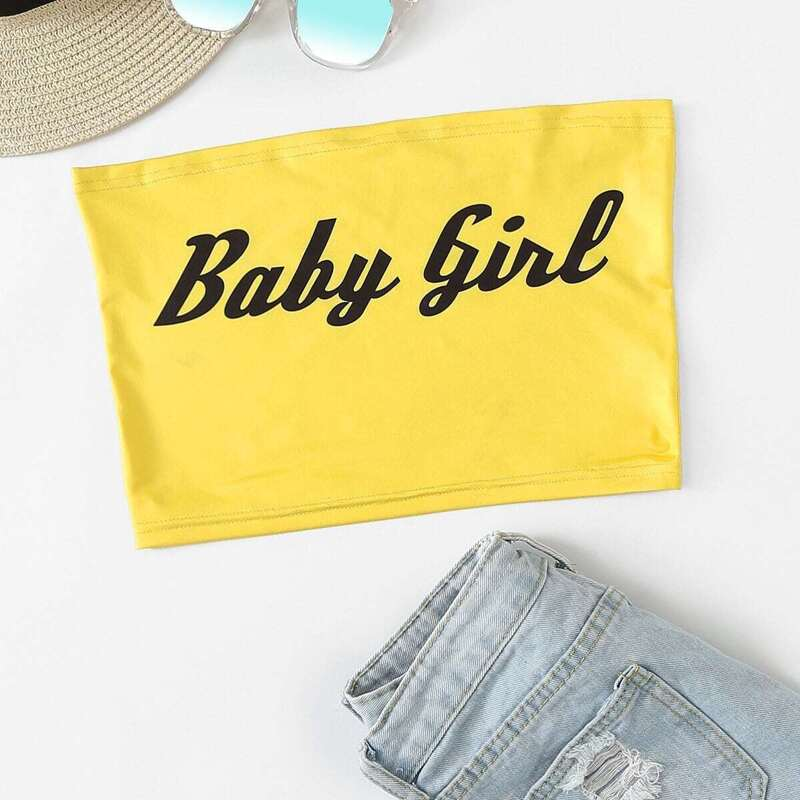 Slogan Print Crop Tube Top, Yellow