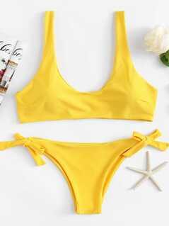 Scoop Neck Top With Self Tie Side Bikini Set