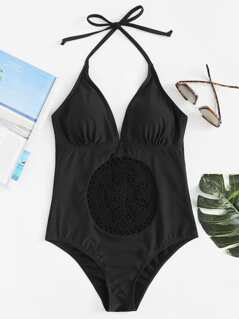 Crochet Front Halter One Piece Swimsuit