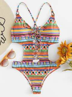 Lace Up Front Tribal Swimsuit