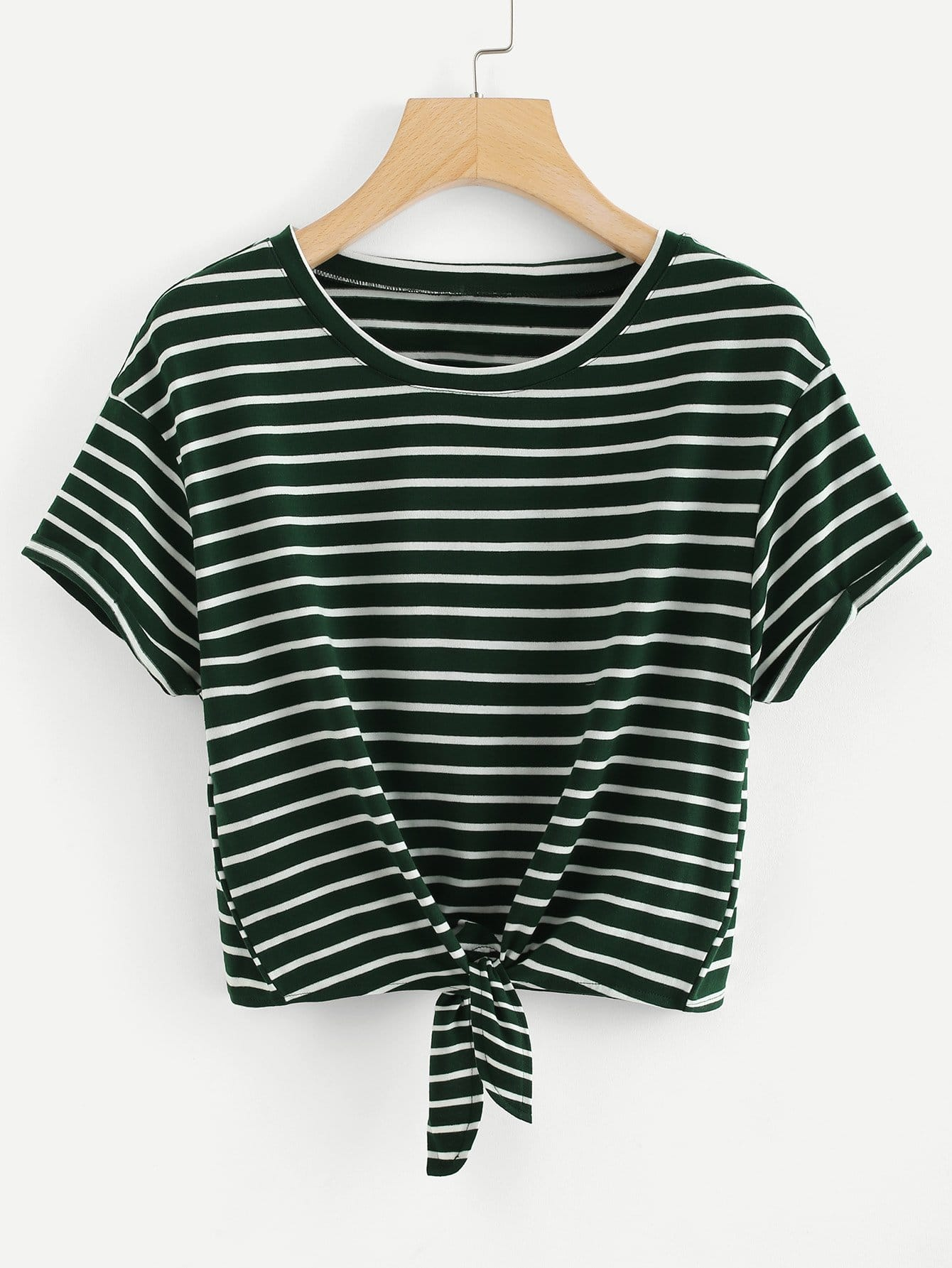Knot Front Cuffed Sleeve Striped Tee knot front fit