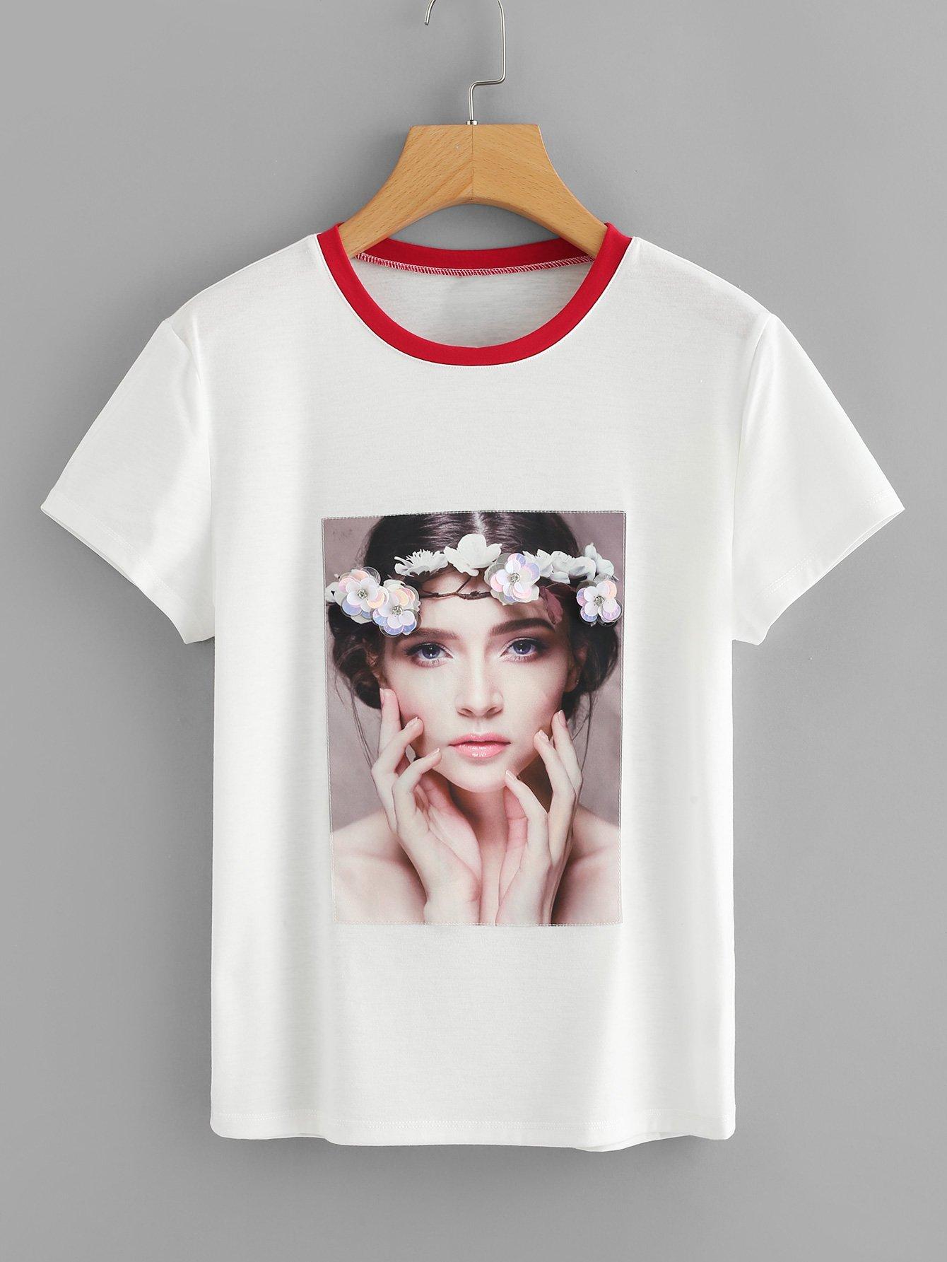 Flower Applique Portrait Print T-shirt redfox футболка flower t 42 4300 желтый