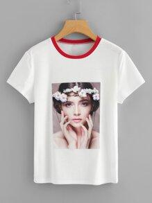 Flower Applique Portrait Print T-shirt