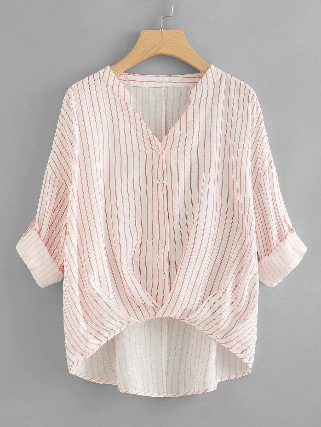 Rolled Up Sleeve Striped Dip Hem Blouse all over cranes print dip hem striped blouse