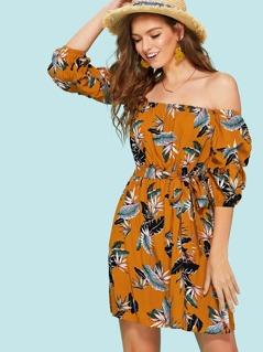 Gathered Sleeve Tropical Bardot Dress with Belt